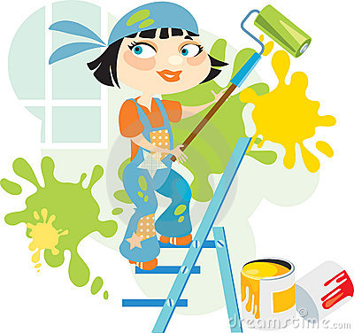 Smiling girl-painter