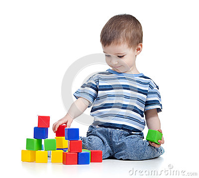 Free Cheerful Kid Boy With Construction Set Royalty Free Stock Photography - 26220757