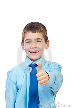 Cheerful kid give thumbs