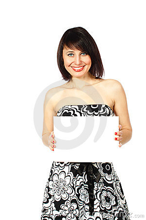 Cheerful lady holding blank