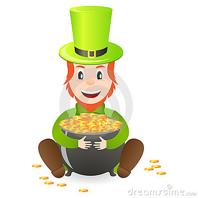 Cheerful leprechaun with treasure