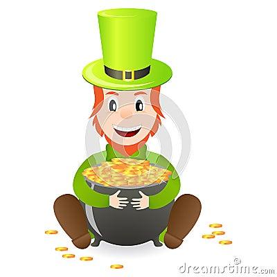 Cheerful leprechaun with treasure