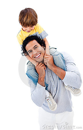 Cheerful little boy having fun with his father