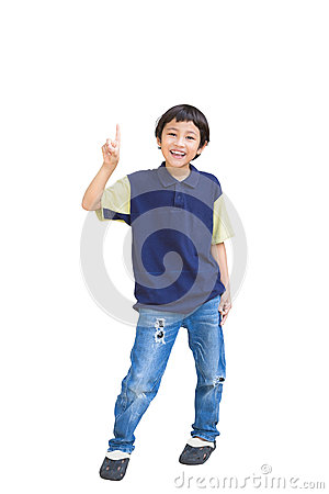 Cheerful little boy pointing up
