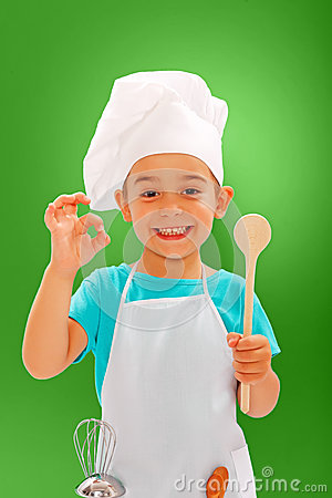 Cheerful little chef showing good taste