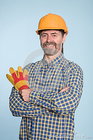 Cheerful man in helmet