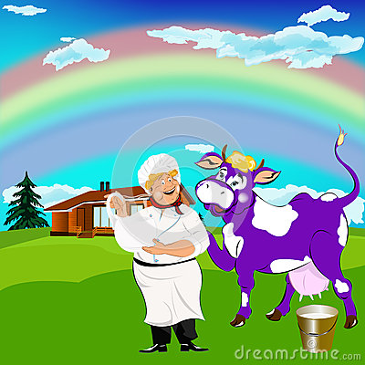 Cheerful milkman and purple cow