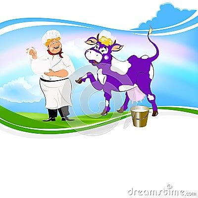 Cheerful milkman and purple cow