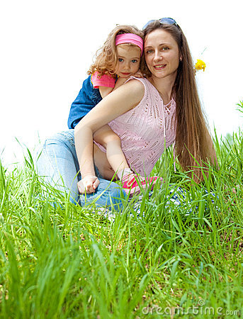 Cheerful mother and daughter