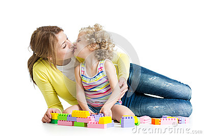 Cheerful mother and kid