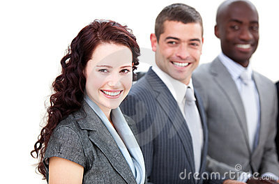 Cheerful multi-ethnic business people in a meeting