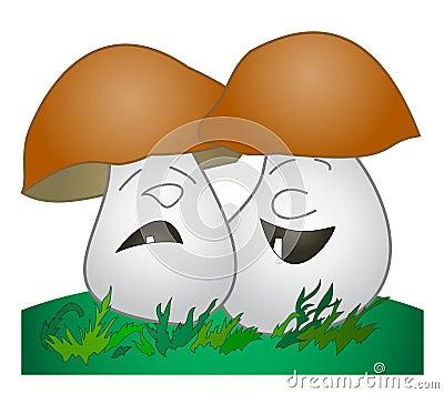 Cheerful mushroom, sad mushroom