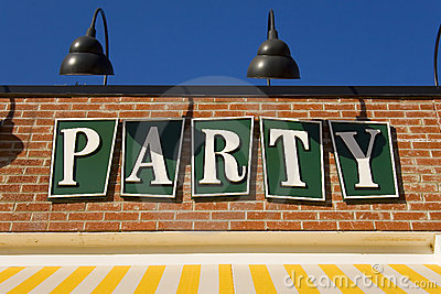 A cheerful party sign