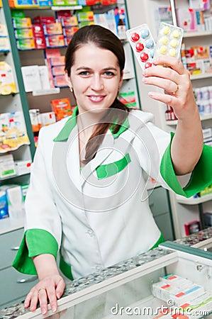 Cheerful pharmacist chemist woman