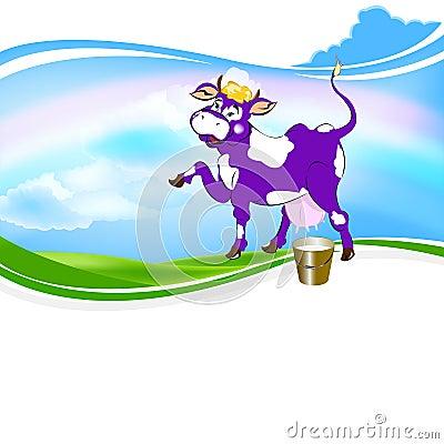 Cheerful purple cow