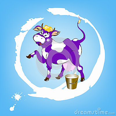 A cheerful purple cow