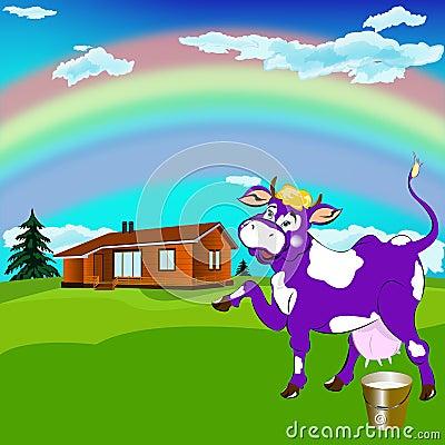 A cheerful purple cow
