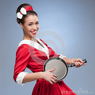 Cheerful retro housewife