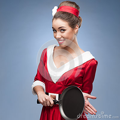 Cheerful retro housewife