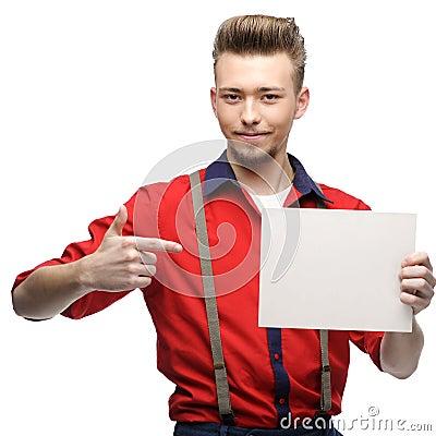 Cheerful retro man holding sign