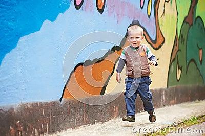 Cheerful runner kid