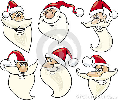 Cheerful santa claus cartoon faces icons set