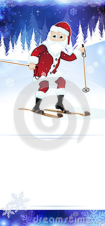 Cheerful Santa Claus on skis
