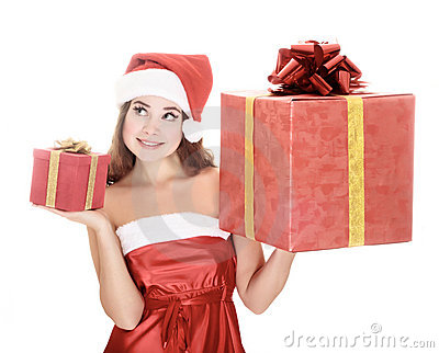 Cheerful santa helper girl with gift boxes.