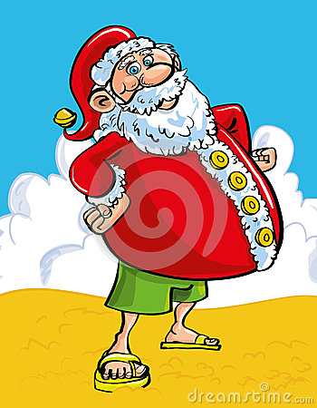 Cheerful Santa at the seaside