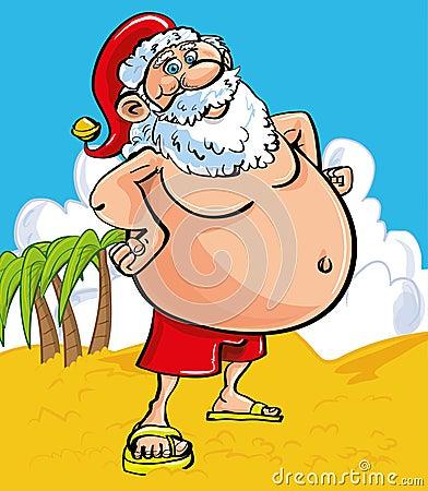Cheerful Santa at the seaside