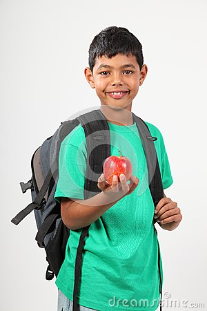 Cheerful School Boy 10 Smiling Holding Red Apple Stock Images - Image: 16637894