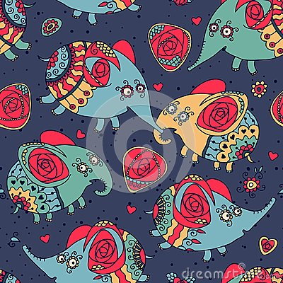 Cheerful seamless pattern with elephants and roses