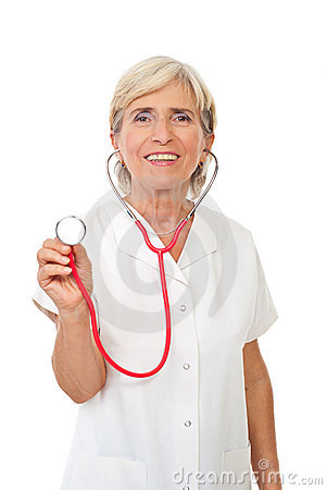 Cheerful senior doctor with stethoscope
