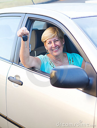 Cheerful senior driver