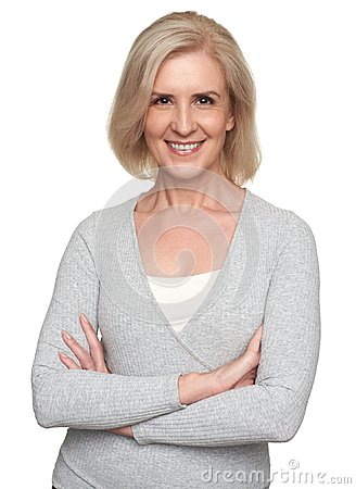 Free Cheerful Senior Woman Toothy Smiling. Isolated Royalty Free Stock Images - 123877429