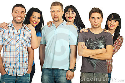 Cheerful six people