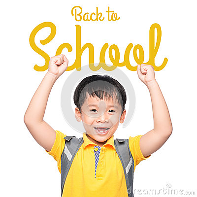 Free Cheerful Smiling Little Boy With Big Backpack Jumping And Having Fun Against White Wall. Looking At Camera. School Concept. Royalty Free Stock Photo - 96665695
