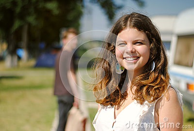 Cheerful smiling teenage girl portrait