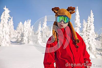 Cheerful snowboarder