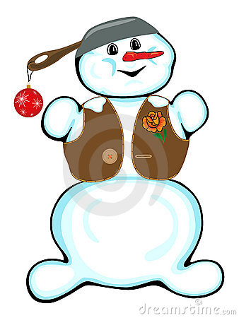 Cheerful snowman on a white background.