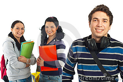 Cheerful student guy and his colleagues