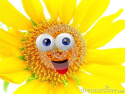 Cheerful sun flower character