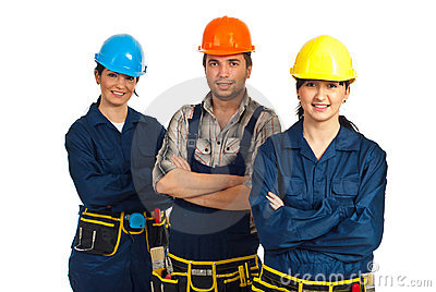 Cheerful team of three constructor workers