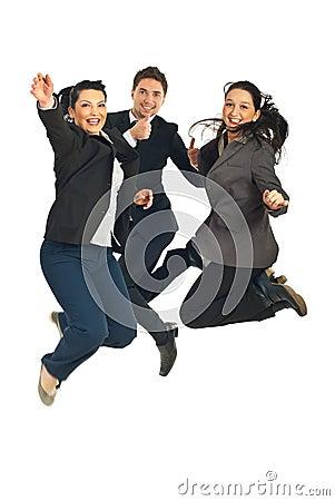 Cheerful teamwork jumping