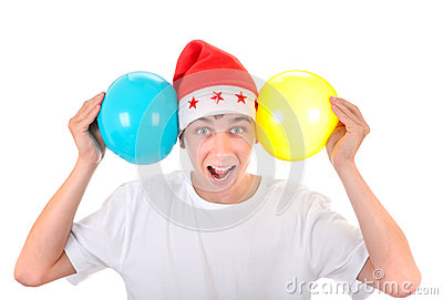 Cheerful Teenager with Balloons