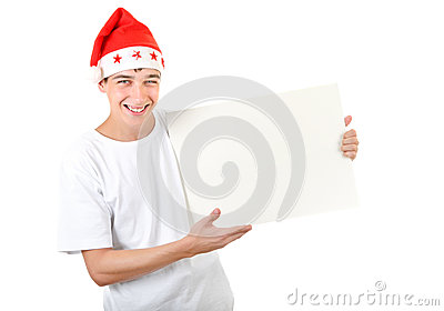 Cheerful Teenager with White Board