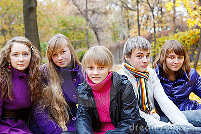 Cheerful teens in the fall
