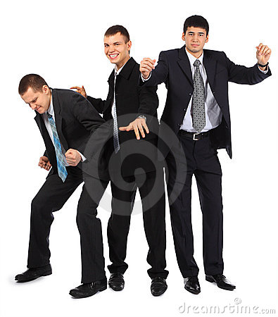 Cheerful three young businessmen