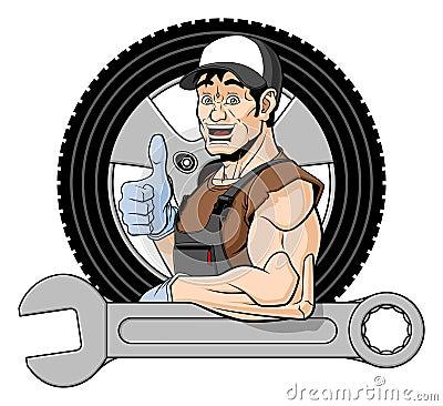 Cheerful tire specialist