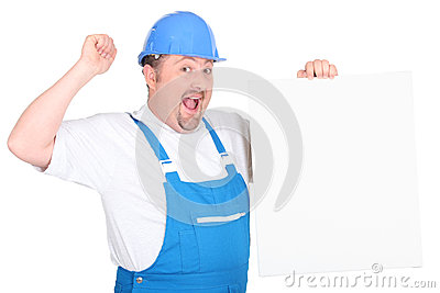 A cheerful tradesman